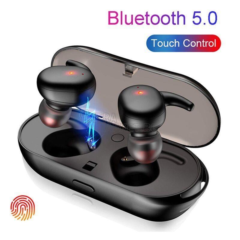 True Wireless Stereo (TWS) Слушалки със зарядна станция и тъч контрол