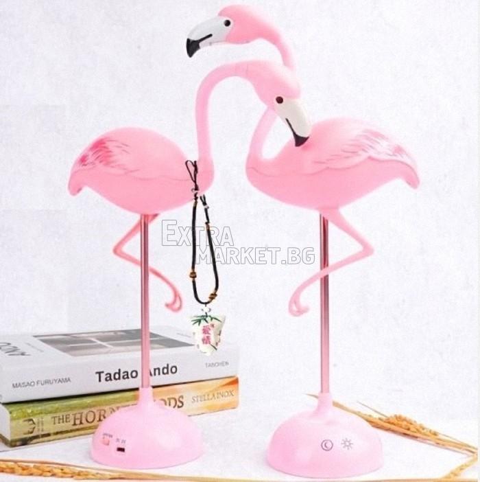 Розово фламинго LED лампа с поставка за телефон