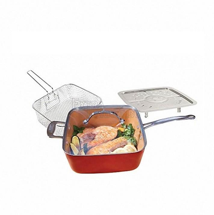 Комплект Copper Chef квадратен тиган със стъклен капак-5 начина на готвене