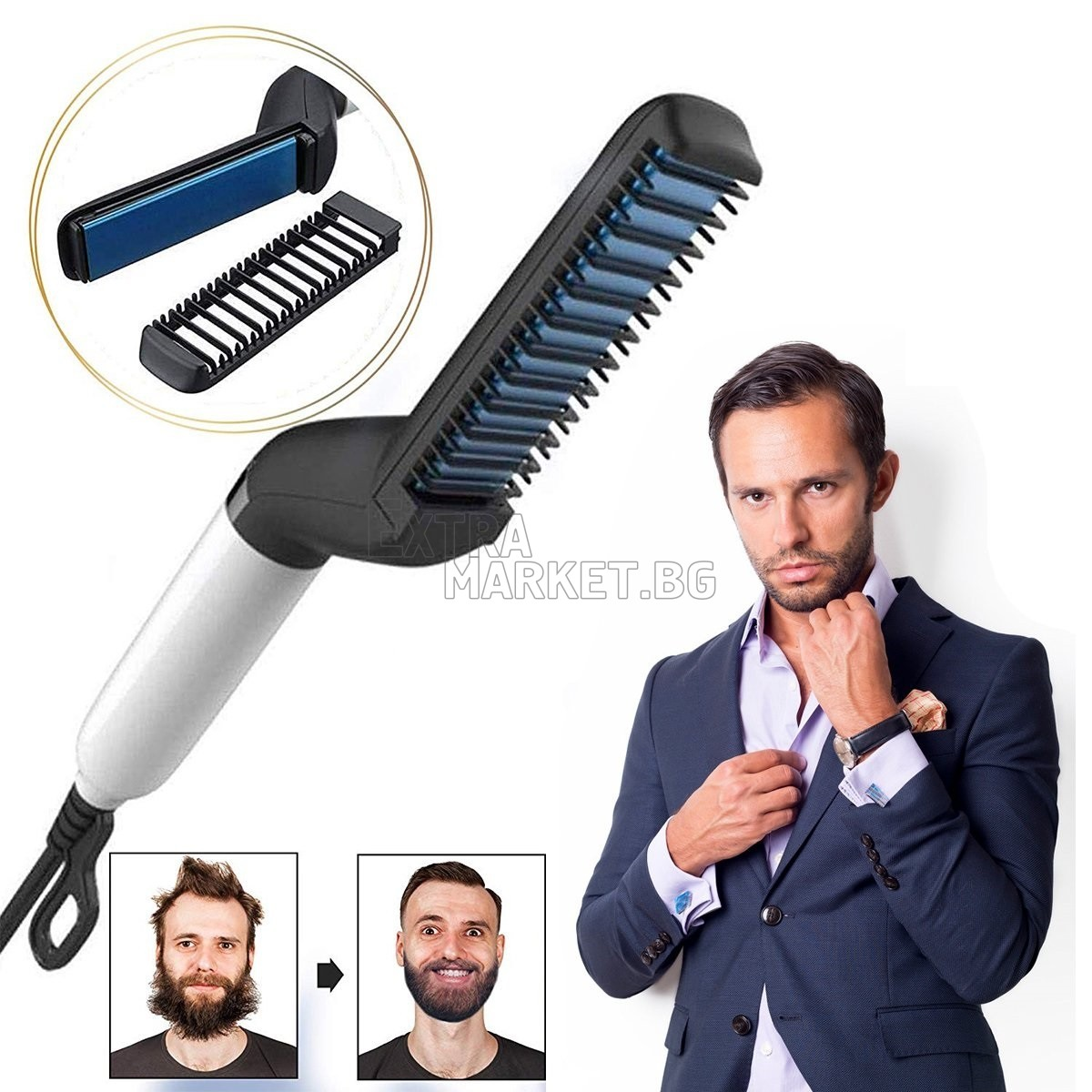 Мъжка преса за изправяне на коса и брада 2 в 1