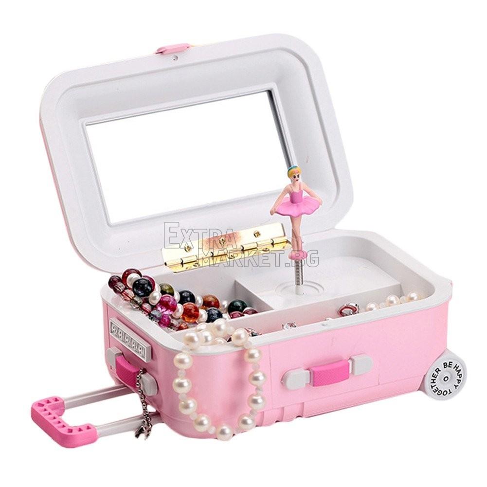 Музикална кутия за бижута-куфар с колелца