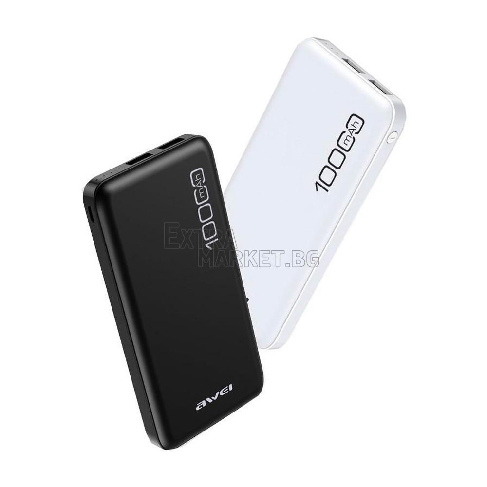 Мобилна батерия AWEI Power Bank 10000 mah за телефон/таблет