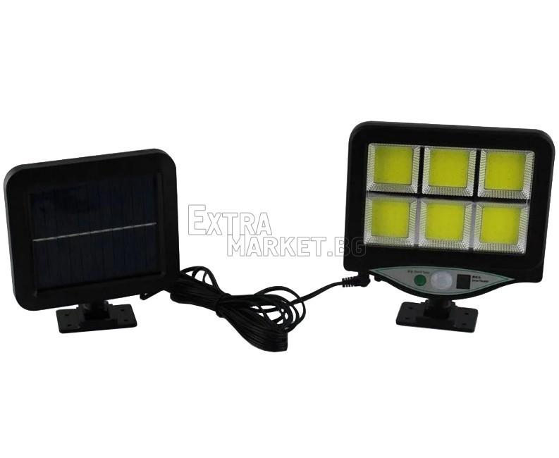 Лампа със соларен панел и 128 COB LED диода-дистанционно, сензор за движение и фотоклетка