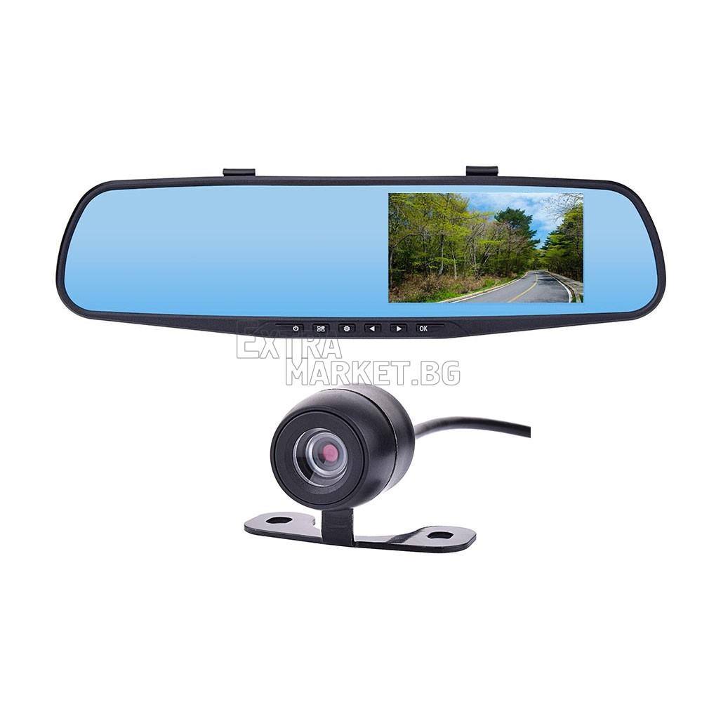 Огледало за задно виждане с две камери и 4.8 инчов дисплей