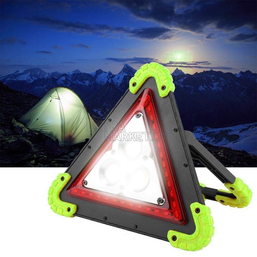 Лед светещ акумулаторен триъгълник LED авариен прожектор