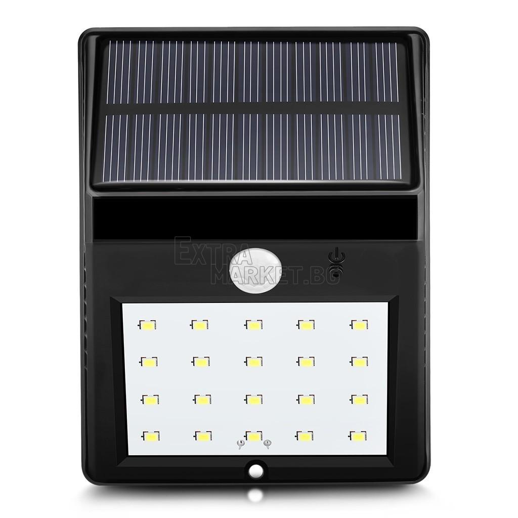 Соларна лампа 20 LED диода-със сензор за движение