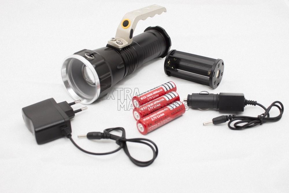 Фенер с CREE/XM-L T6 диод/ захранен с 3 акум. батерии 6800 mAh