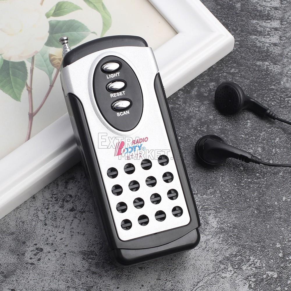 Мини джобно радио с фенерче и слушалки