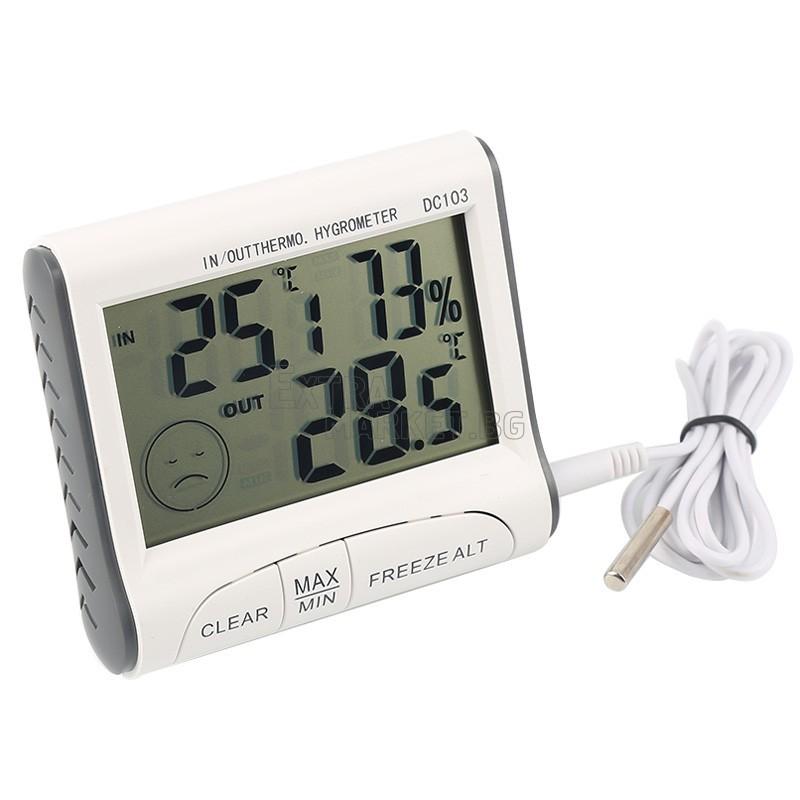 Влагомер-термометър за измерване в помещение и извън него