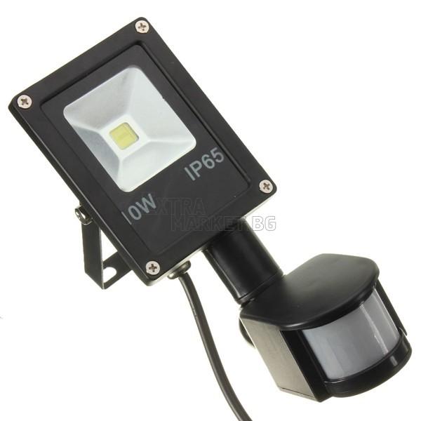 Led прожектор със сензор за движение 10W (Влагозащитен)