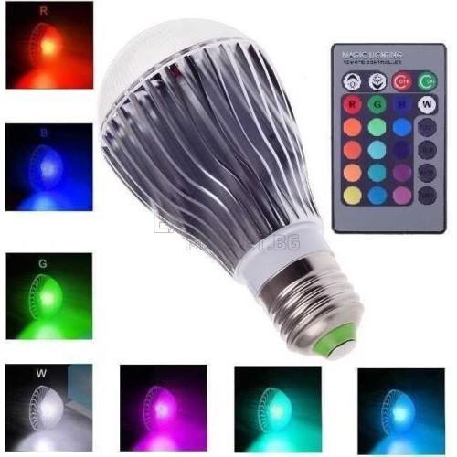 Цветна RGB LED Крушка/Дистанционно управление
