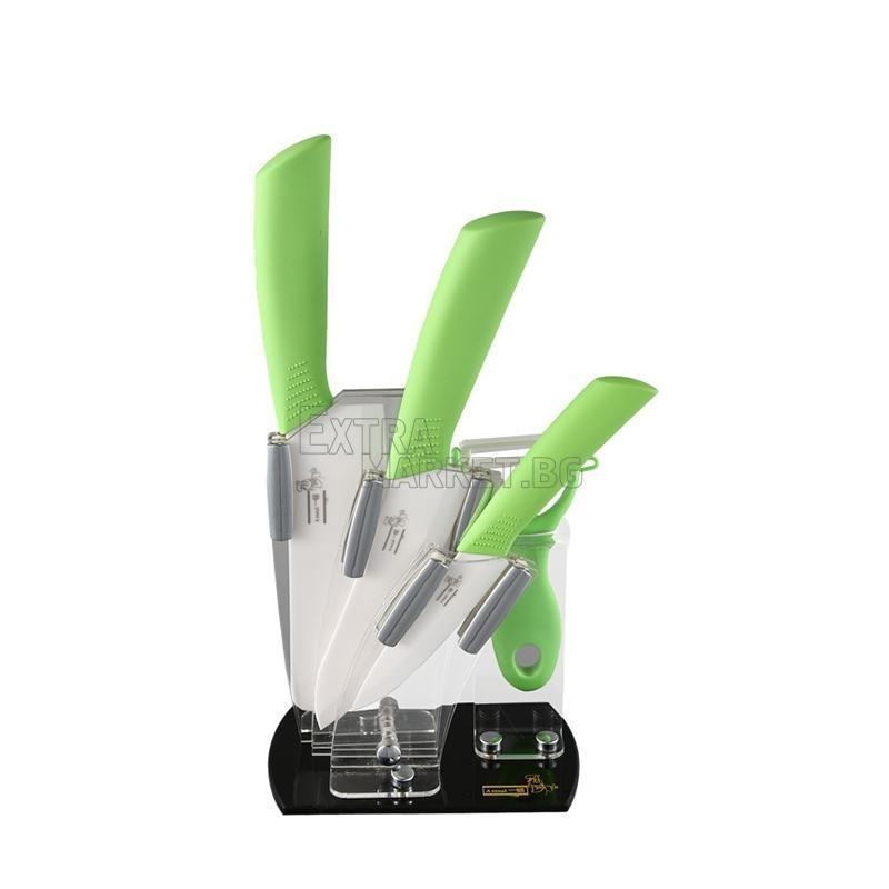 Комплект от 3 керамични ножа, белачка и стойка